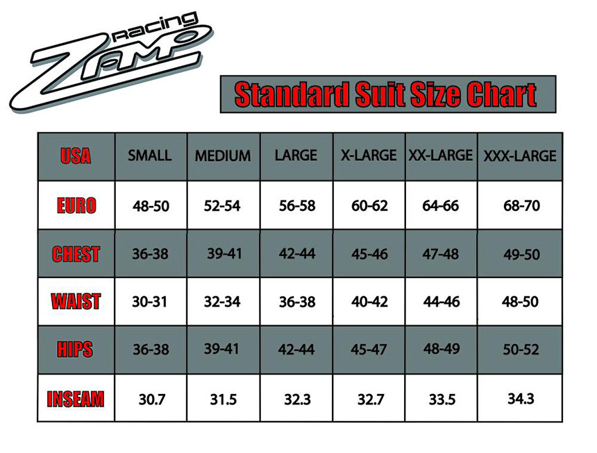 Zamp Racing Fire Suit Size Chart