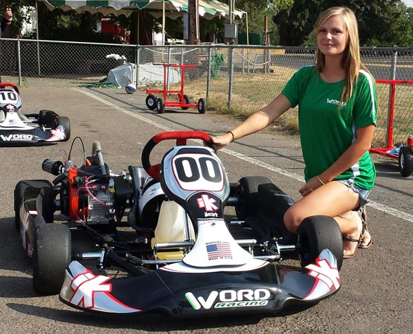iKart prepared by WORD Racing, and Madi Egger modeling WORD Racing shirt